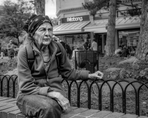 A woman relaxes on the Pearl Street Mall in Boulder Colorado